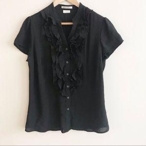 Van Heusen   Black Short Sleeve Ruffle Blouse M